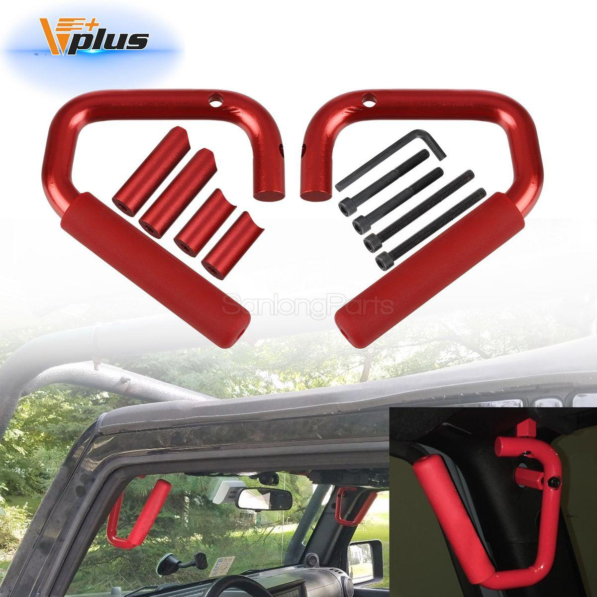 Pair Red Solid Steel Front Grab Bar Handles For Jeep Wrangler JK 2007-2017