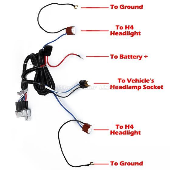 1x Ceramic H4 Headlight Relay Wiring Harness 2 Headlamp Light Bulb Socket Plugs