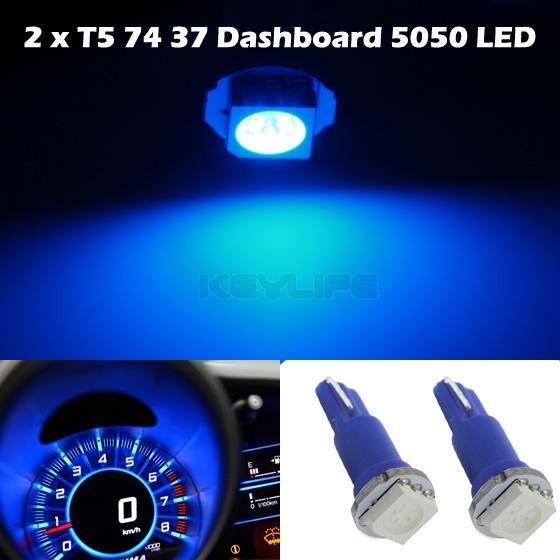 2x Blue T5 1-SMD 5050 LED Dashboard Instrument Panel Light 57 37 70 73 74 85 86
