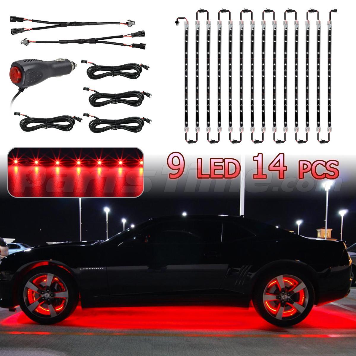 Set 14 Tubes Red Car Underbody Under Glow LED Light Strip 9 3528 SMD  Lighting