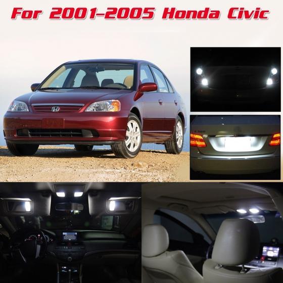 Details about 8x Super White LED Interior Lights & Backup Reverse For 01-05  Honda Civic Sedan