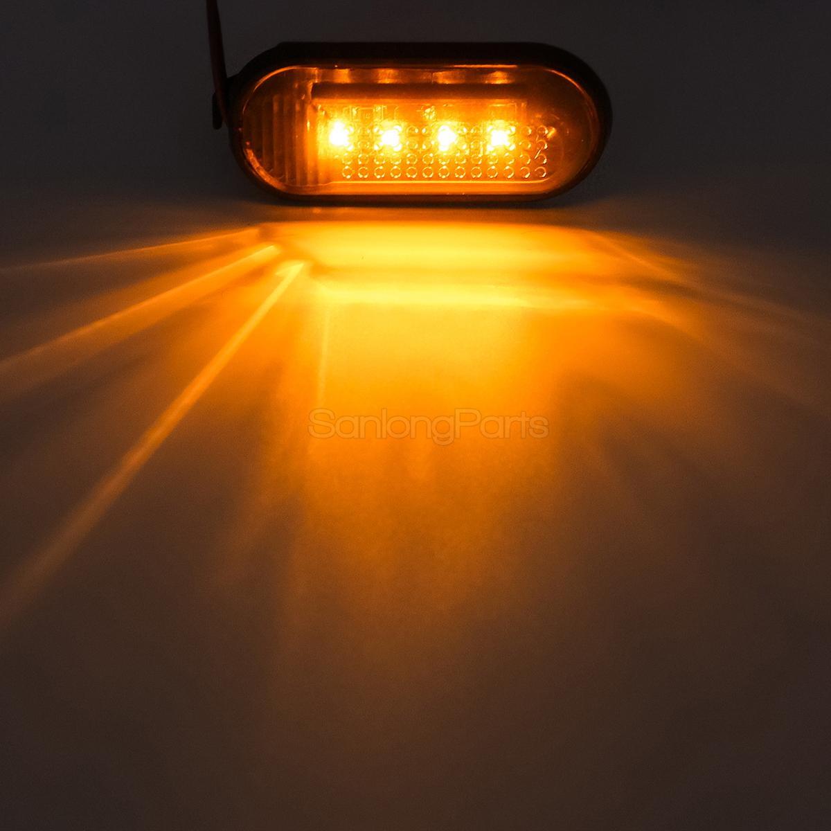 Set2 Flat Style Amber Side Marker Turn Signal Fender Light