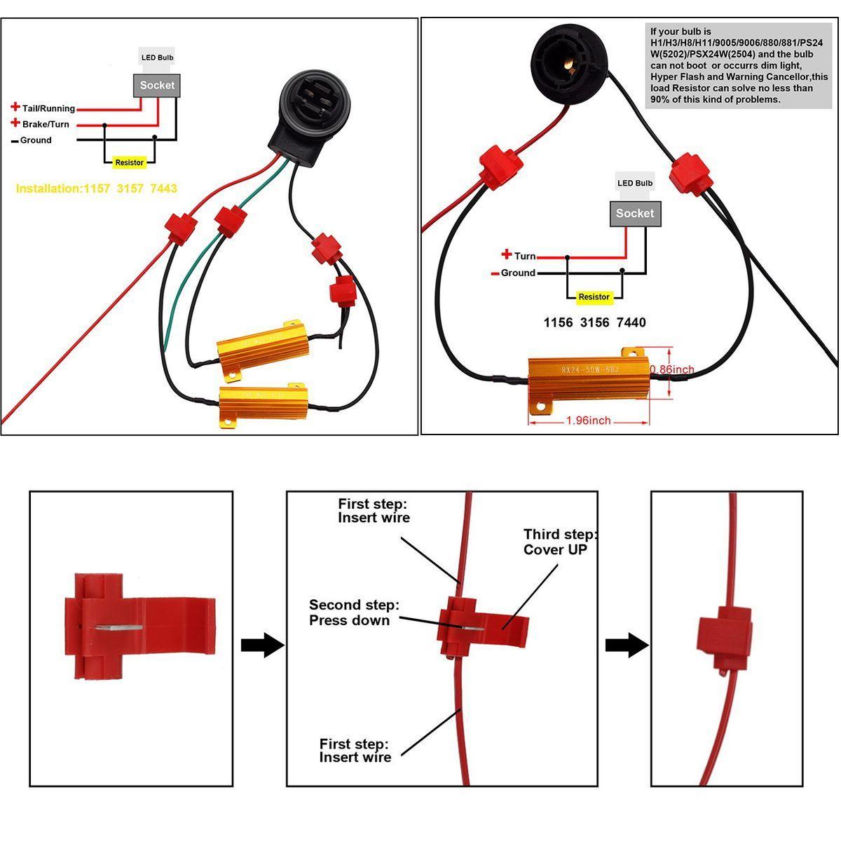 Load Resistors 2Pcs 1157 1034 White 6000k Amber Front Turn Signal Light Bulb