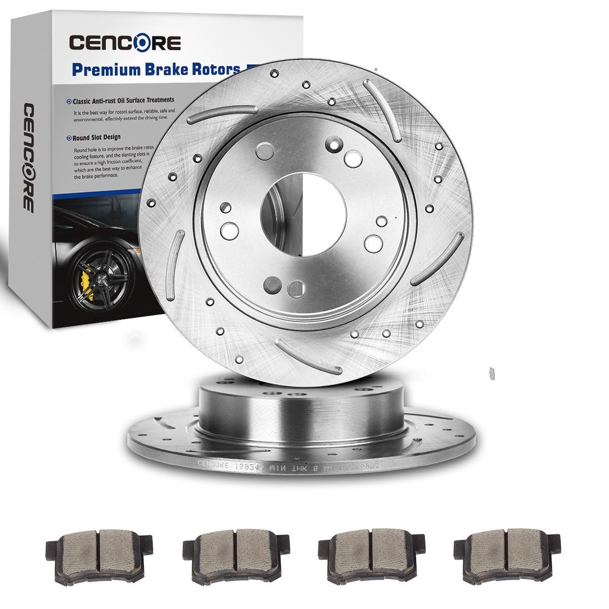 2009 For Honda Civic Rear Anti Rust Coated Disc Brake Rotors and Ceramic Brake Pads