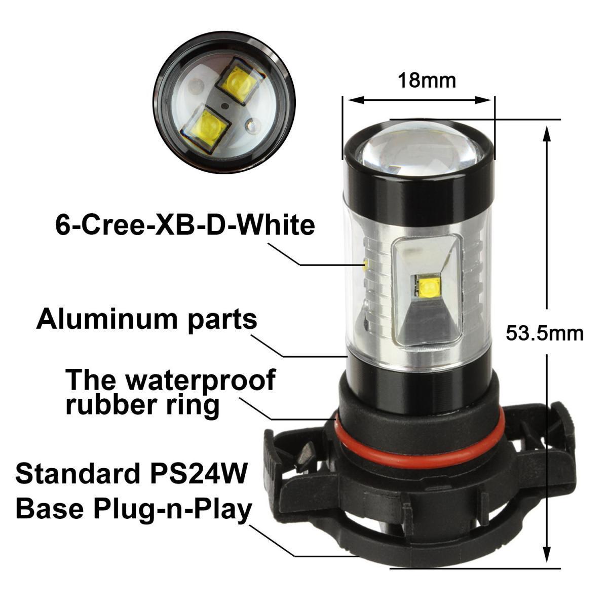 Ps24w H16 5202 Super Bright 60w 6000k Led Bulb Fog Light