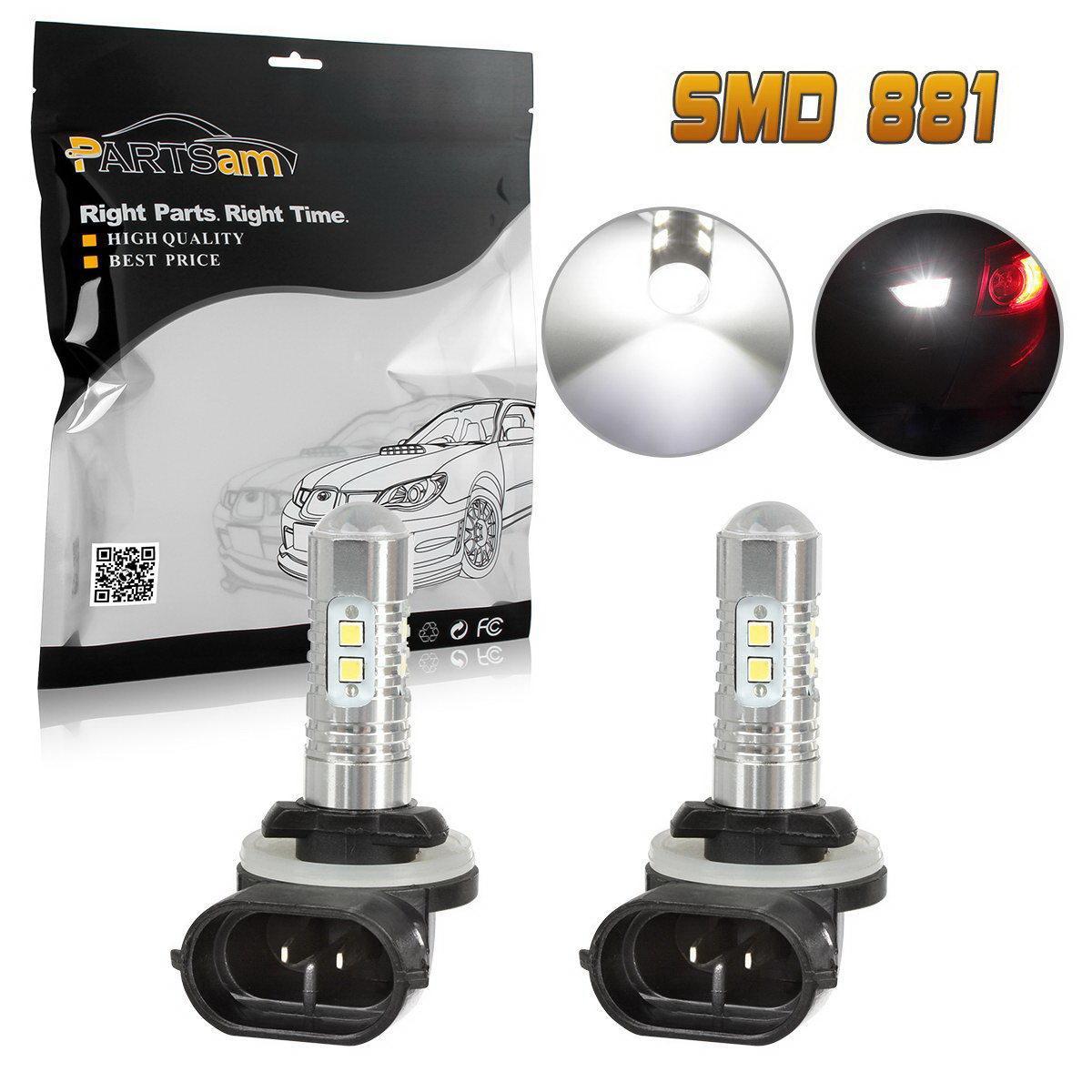 2PCS 2*50W 10* LED Fog Driving Lights DRL Bulb 881 862 884 885 Cool White 6500K