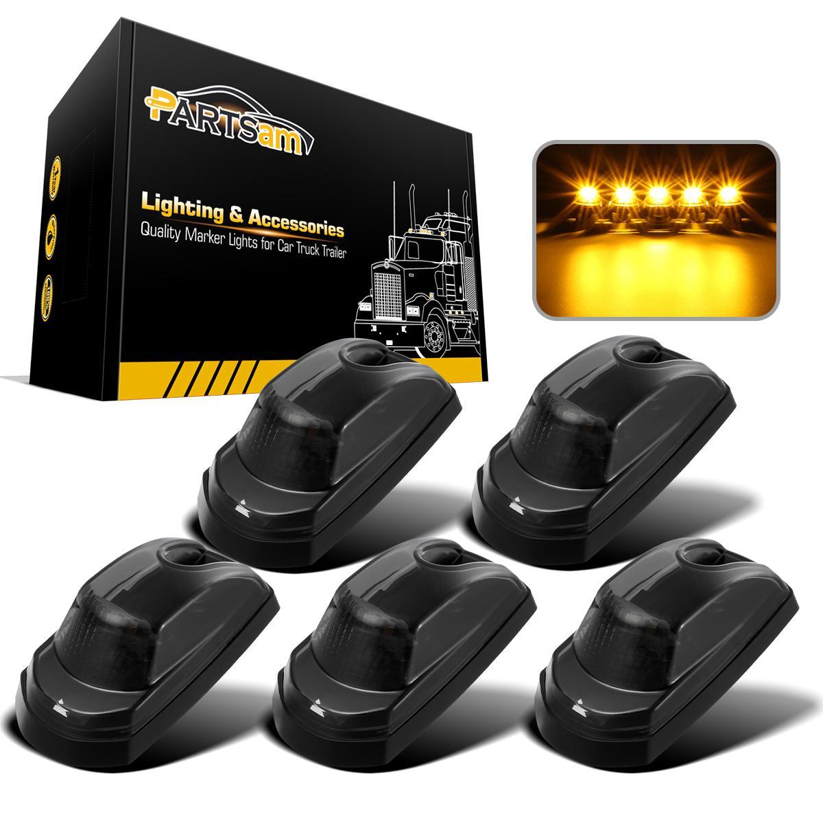 5PC Roof Cab Marker Light Amber Lens//Cover+Black Base for 73-87 Chevy K10//20//30