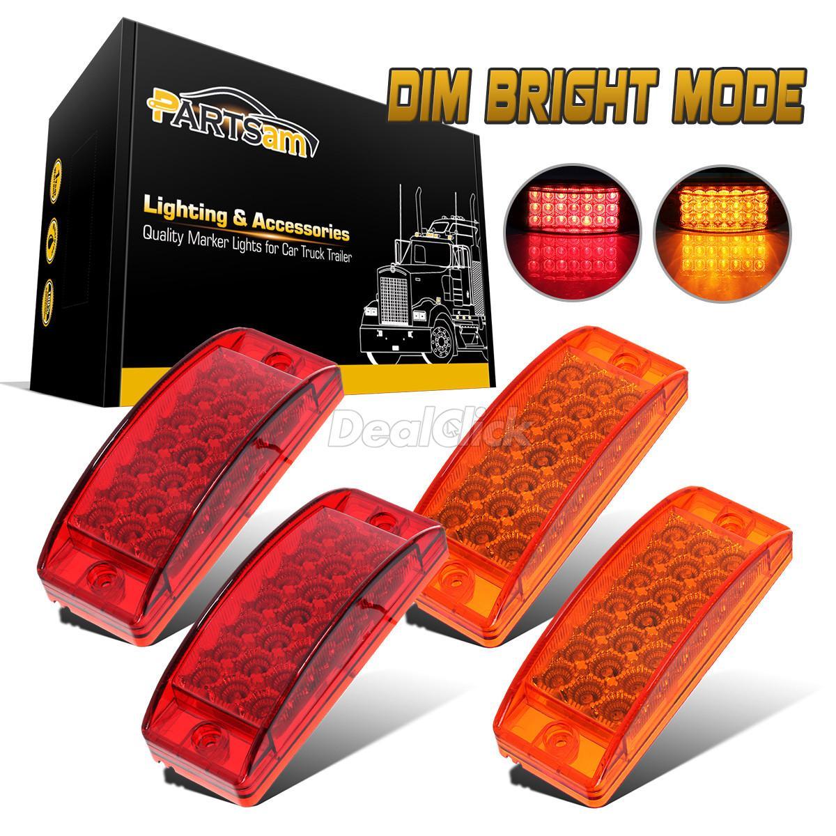 10 X Trailer Truck Surface Mount Side Marker 15 LED Lights Metal Base Rectangle