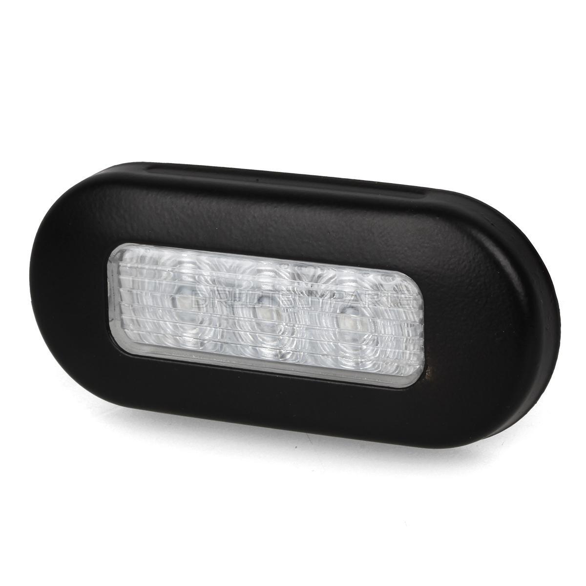 """MARINE BOAT LED RV TRAILER WHITE OBLONG SHAPE COURTESY LIGHT 3/""""BY1.25/"""" S.S RIM"""