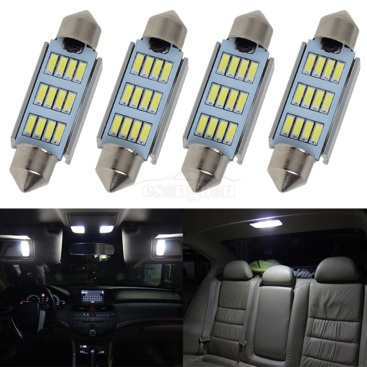 2x Canbus White 42MM 4014 20SMD Festoon LED Interior light Bulbs 6000K Top Nice