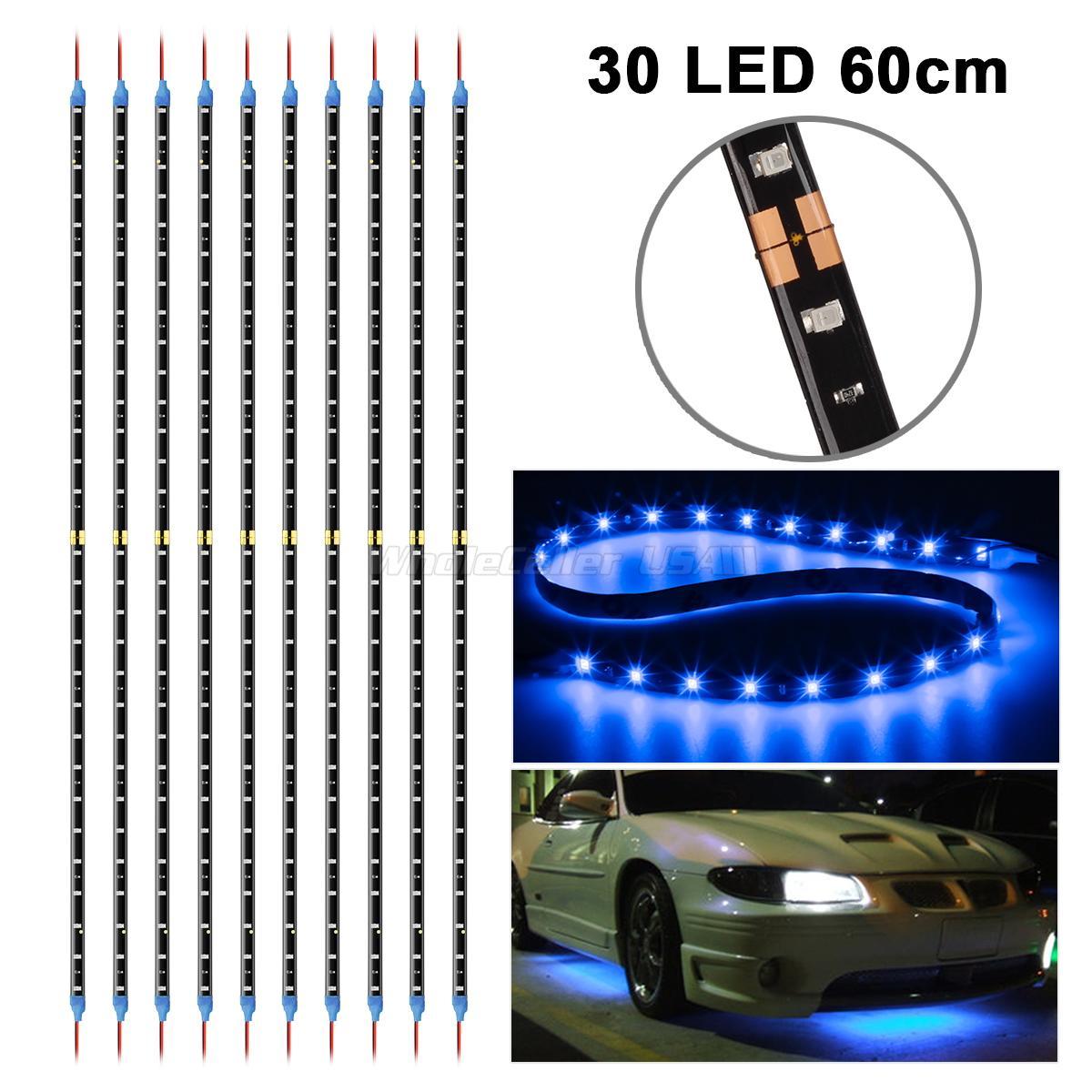 "10pcs 12/"" 15SMD Blue LED Strip Lights For Car Cup Holder Glove Box Foot Area"