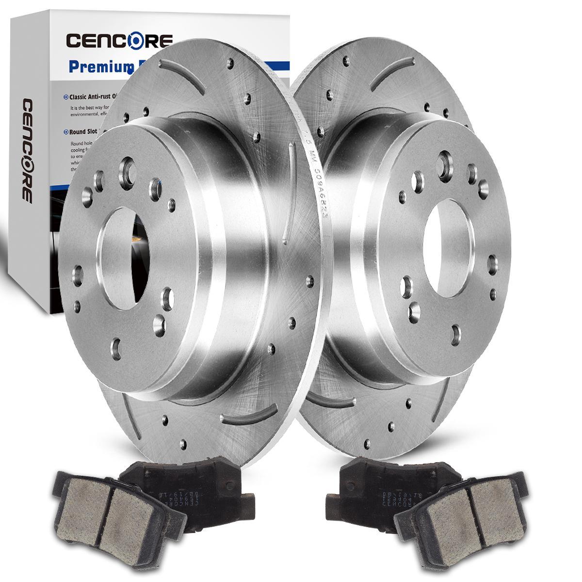 Rear Drill Slot Brake Rotors /& Ceramic Pads For 03-11 Element 04-08 TL