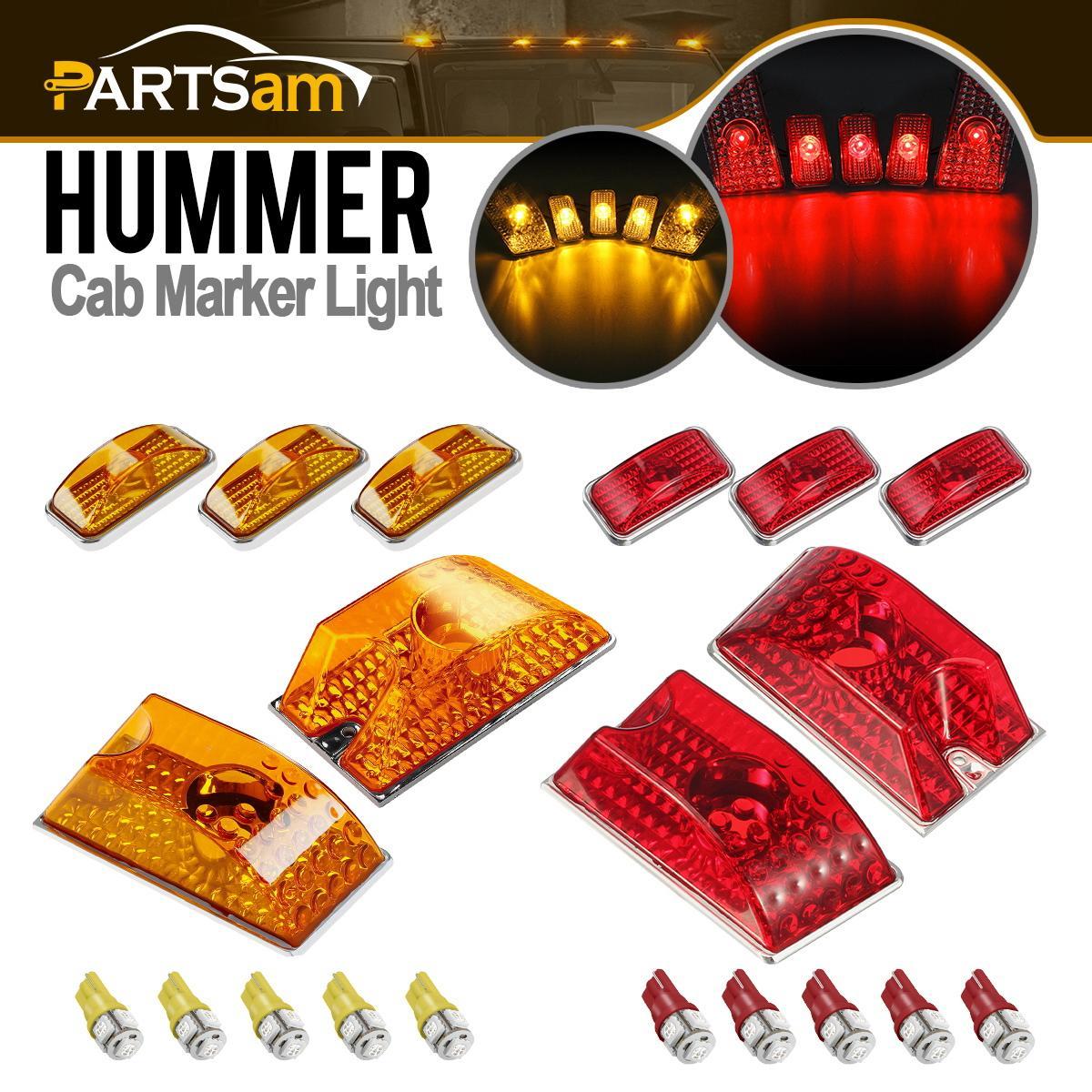 10xAmber//Red Lens Cab Marker Roof Running Top Lights w//Bulbs for 03-09 Hummer H2
